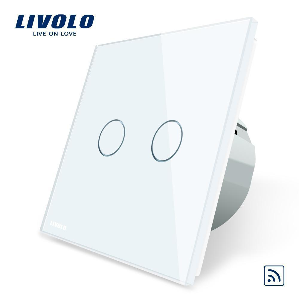 Livolo Eu Standard ,Crystal Glass Panel ,Eu Standard ,Ac220 ~250v ,Wall Light Remote Touch Switch Led Indicator ,C702r -1 /2 /3 /5