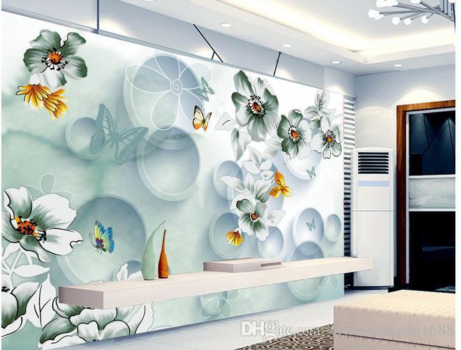 벽지 홈 인테리어 디자이너 나비 사랑 꽃 꿈 꽃 3D 스테레오 원형 TV 배경 벽