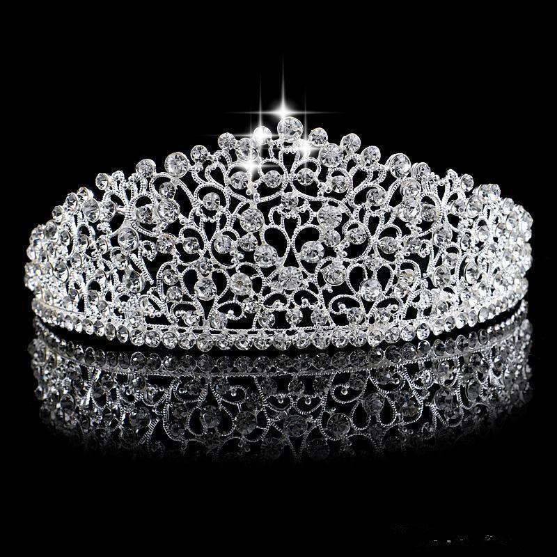 Sparkling Silver Big Wedding Diamante Pageant Tiaras Hairband Crystal coronas nupciales para las novias Prom Pageant Hair Jewelry Headpiece 2019
