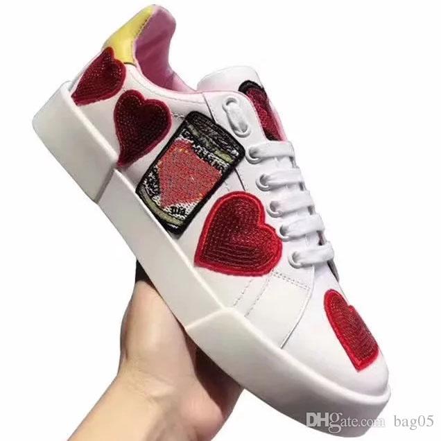 Cuir véritable baskets haute qualité formateurs designer chaussures femmes chaussures de sport chaussures de course huaraches taille 35-40 avec la boîte D2