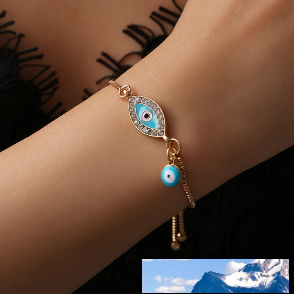 2018 Turkish Lucky Blue Crystal Evil Eye Bracelets For Women Handmade Gold Chains Lucky Jewelry Bracelet woman jewelry #287363