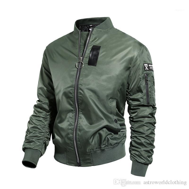 Jacket Autumn Grosso Fique Collar manga comprida Mens Baseball casacos quentes Casual soltas dos homens do vestuário Designer Mens Bomber