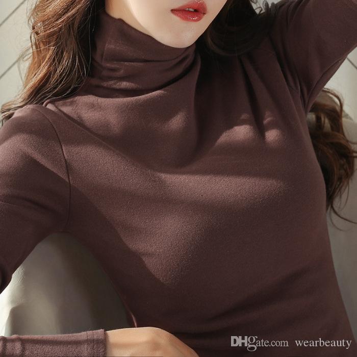 Весна Осень Женщины Solid Основная футболка Длинные рукава Черепаха шеи Твердые футболки для женщин Повседневная Тис Топы женские рубашки