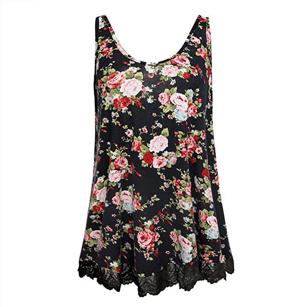 Señoras de las mujeres del verano sin mangas del tanque del estampado de flores de encaje Top T-Shirt Blusa casual streetwear ropa de mujer 2019 estilo de verano
