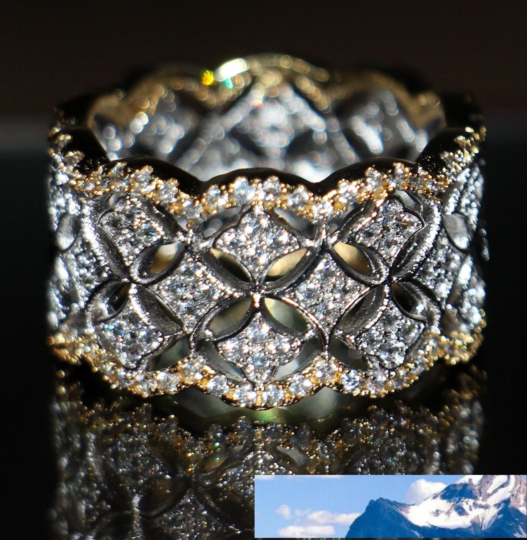 220pcs صغيرة الأبيض توباز مجوهرات الساخن 925 فضة مطلية بالذهب مقلد الماس الأحجار الكريمة خواتم الزفاف النساء لمحبي حجم 5-11