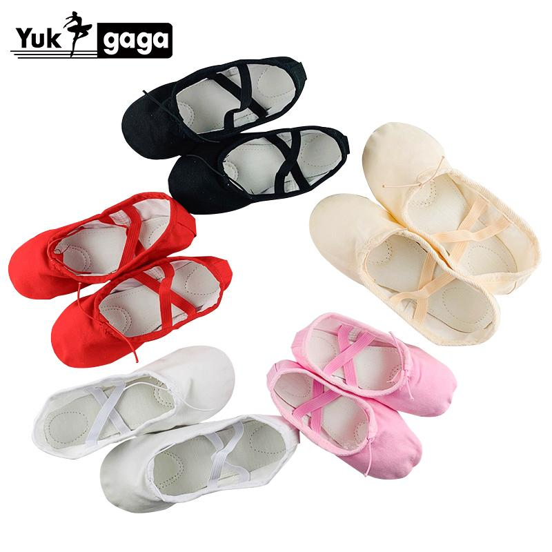 Yoga Slippers Gym Teacher Yoga Ballet Dance Shoes For Girls Women Ballet Shoes Canvas Kids Children pink red black nude white