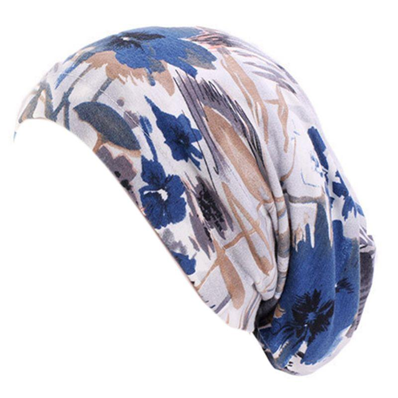 Women Satin Lined Sleep Cap Hair Loss Chemo Elastic Wide Band Slouchy Beanie Hat M7DD