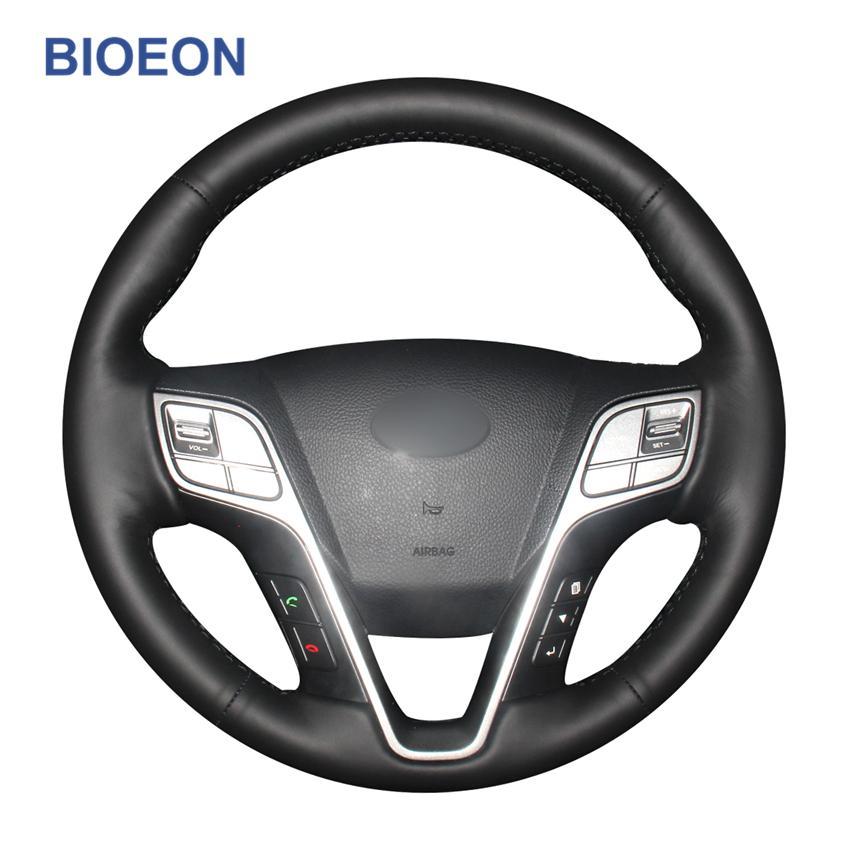 Вышив ручной стежка черный PU искусственные кожаные крышки рулевого колеса для Hyundai Santa Fe 2013-2018 IX45 2013 2014 2015 2016
