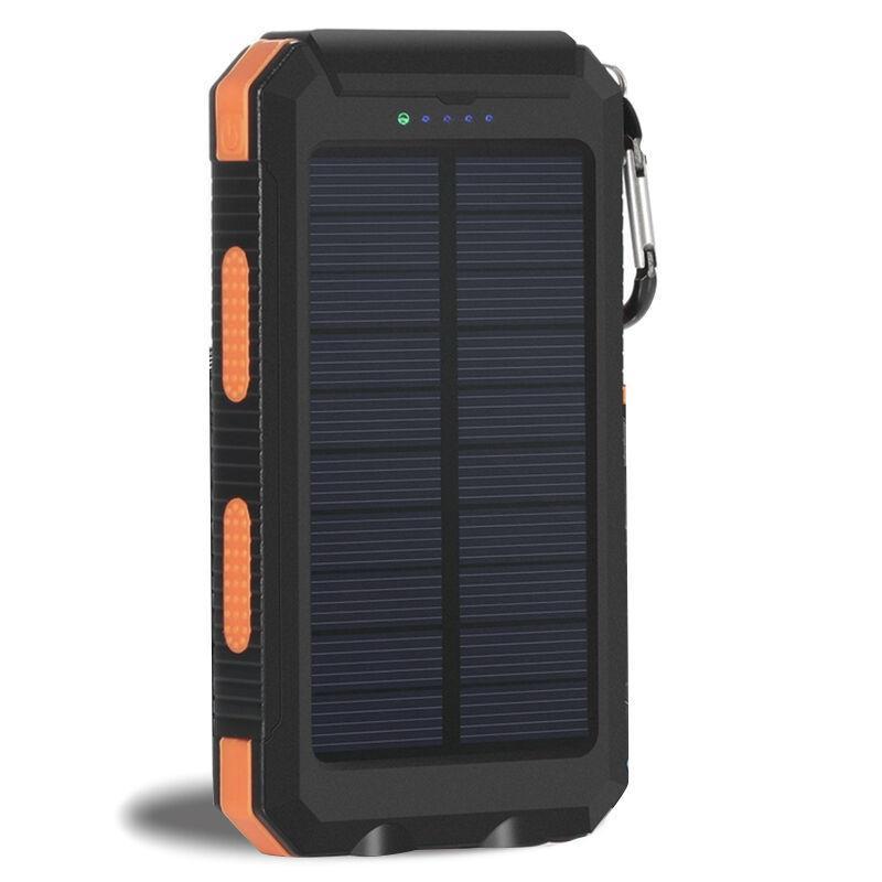Güneş Enerjisi Bankası 20000mAh USB Powerbank Pil Harici Taşınabilir su geçirmez Şarj Kamp LED Işık 2 USB