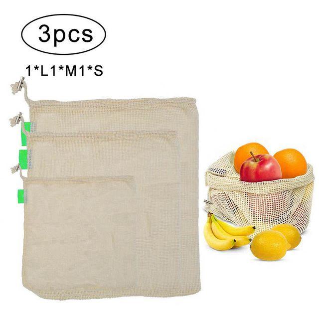 3Pcs Reusable Produce Bags for Fruit Vegetable Drawstring Cotton Mesh Potato Onion Storage Bags Home Kitchen Organizer Supplies DLH038
