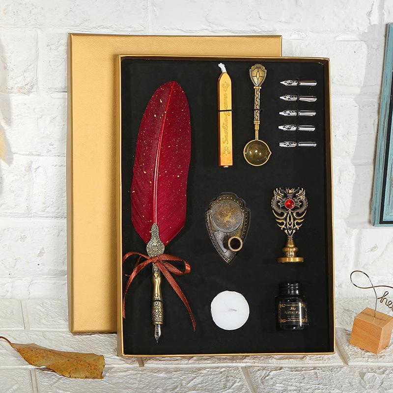 Vintage Sprinkling Gold Feather Pen Calligraphy Writing Dip Pen Fountain Art Suppliesmetal 5 Nib Fountain Gift Box Set