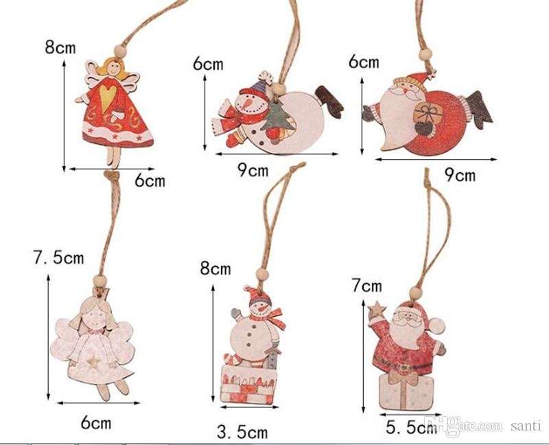 Hot Home Christmas Tree Angle Santa Snowman Wooden Pendants Ornaments Xmas DIY Wood Crafts Kids Gift for Home Christmas Party Decorations