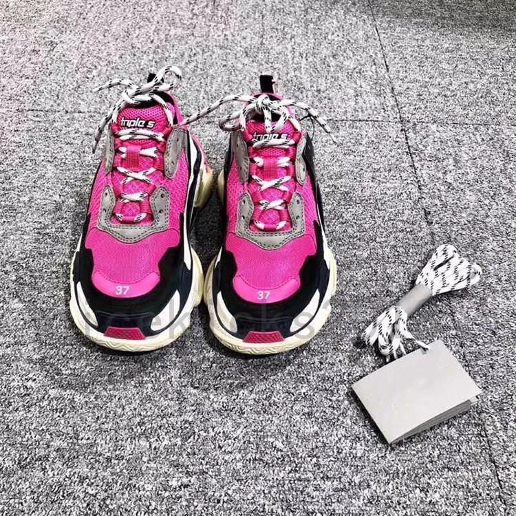 2019 zapatos Fucsia lujo para hombre del papá Mujeres Gris Negro Zapatos tenis casuales de la moda de París 17FW Triple-S Piel Beige zapatilla de deporte Triple S Chaussures