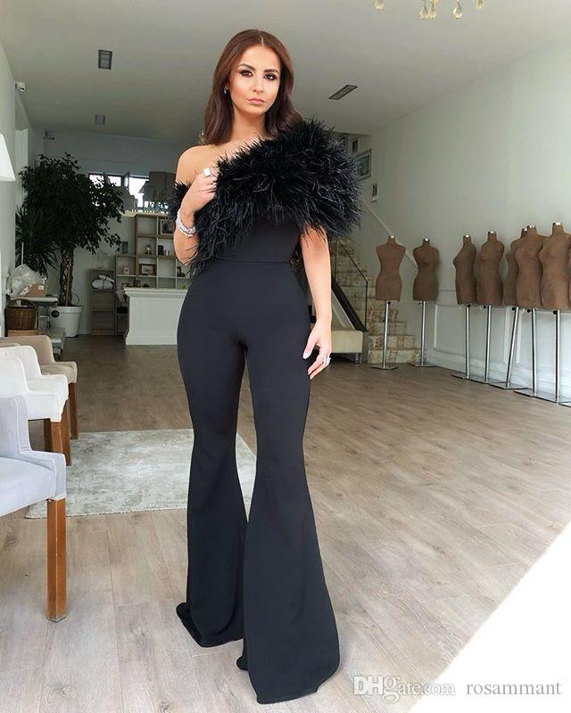 Vestito da partito di promenade di New Modern Black Dress tuta da sera una spalla Feather Pant moda abiti convenzionali