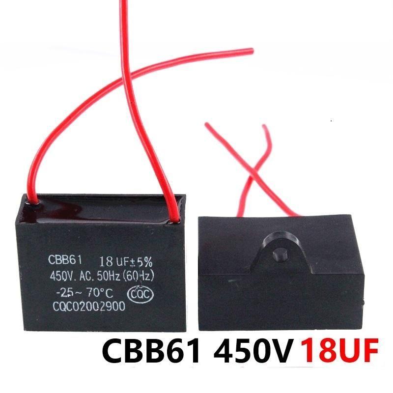 CBB61 450VAC 18UF مروحة بدءا مكثف طول الرصاص 10CM مع خط