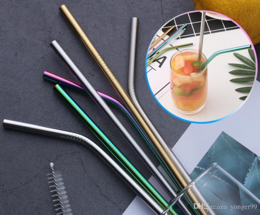6 * 215mm 304 En Acier Inoxydable De Paille plié et droite réutilisable coloré paille pailles en métal paille Cleaner Brosse Bar potable outil DHLl