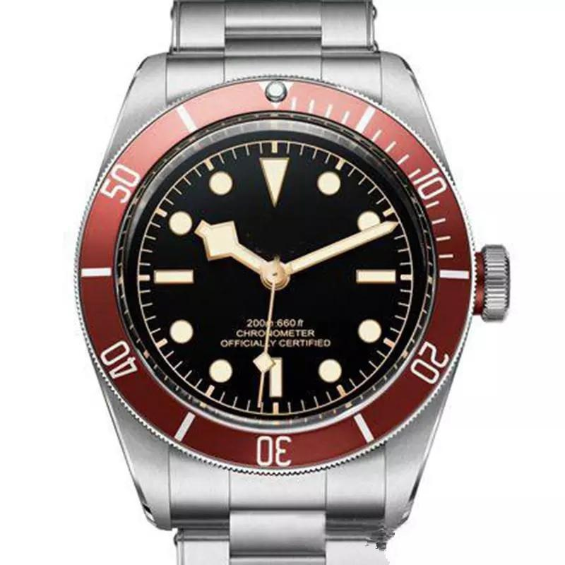 2019 Luxury Mens Stainless Steel Automatic Movement 기계식 Red Bezel Black 다이얼 Solid Clasp Geneve Men Watches