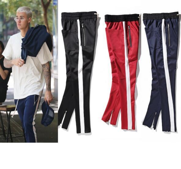 2019 New Side Fear Of God Pantalones con cremallera Hip Hop Ropa urbana Ropa de fondo rojo Pantalones basculador 3tyle S-2XL