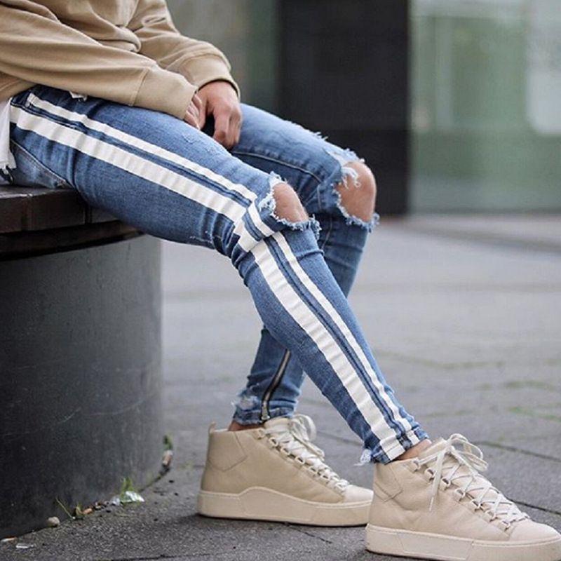 Jeans uomo 2019 New Fashion Skinny Jeans Slim Fit Elastico blu chiaro Pantaloni laterali bianchi da uomo