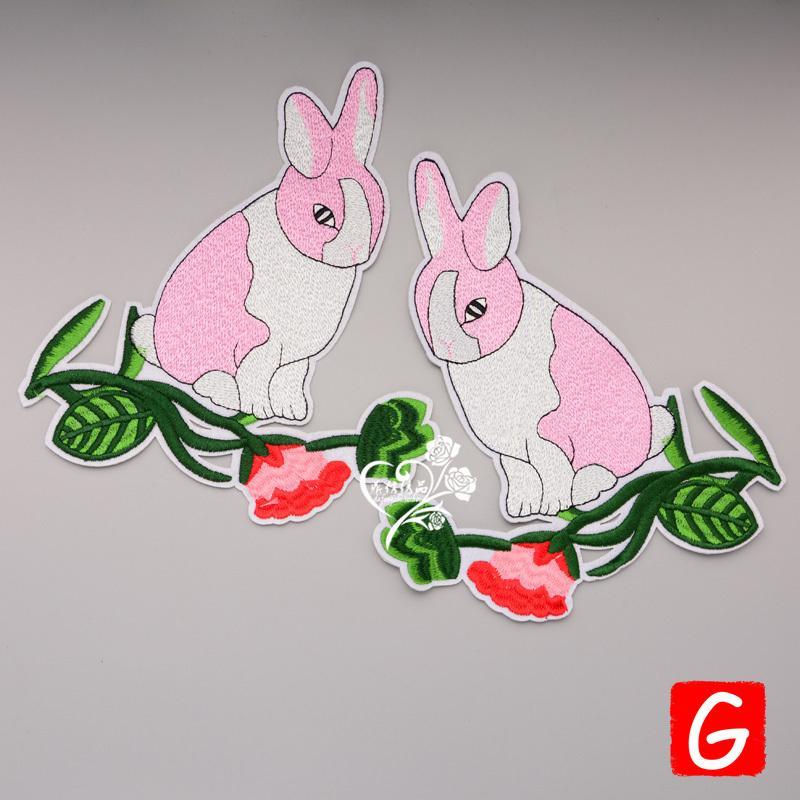 parches conejo grande parche animales GUGUTREE bordados insignias parches apliques para la ropa DX-128
