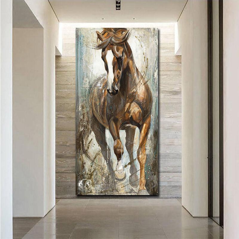 Moderne Vertikal Leinwand Pferdemalerei Cuadros Gemälde an der Wand Home Decor-Leinwand-Druck Bilder Kunst No Frame