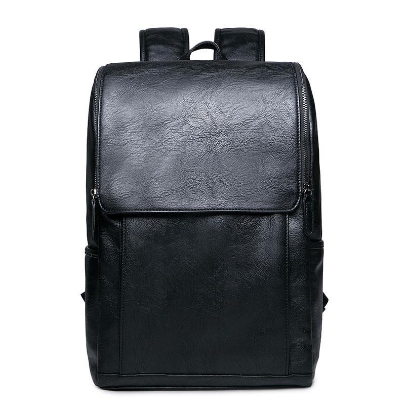 Escuela bolso masculino Mochila Mochila los hombres de la PU de cuero de moda portátil Casual capacidad grande del bolso bolsas de viaje de los hombres