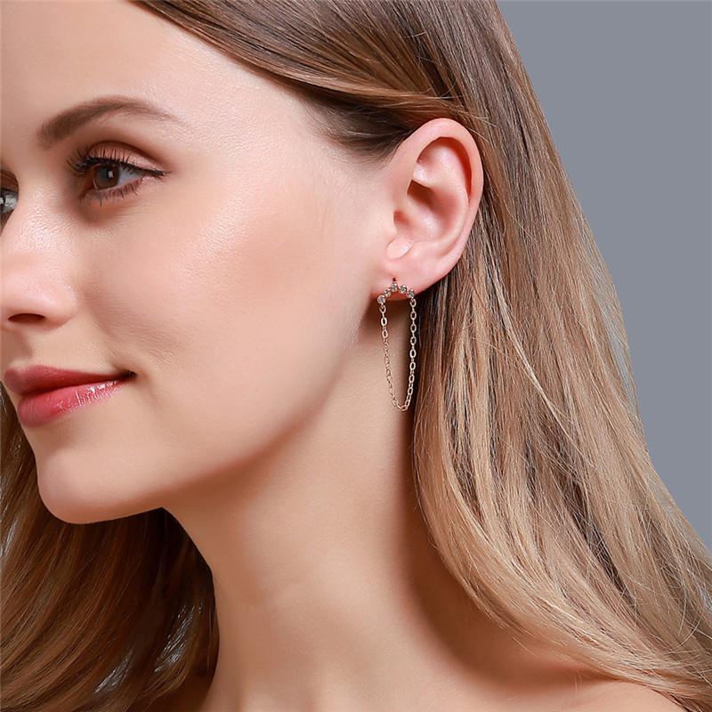 20pcs/Lot Korea Simple Chain Stud Earring Long Pattern Diamond Fringe Earrings For Women Dress Up Ear Drop Dangle Jewelry Accessories