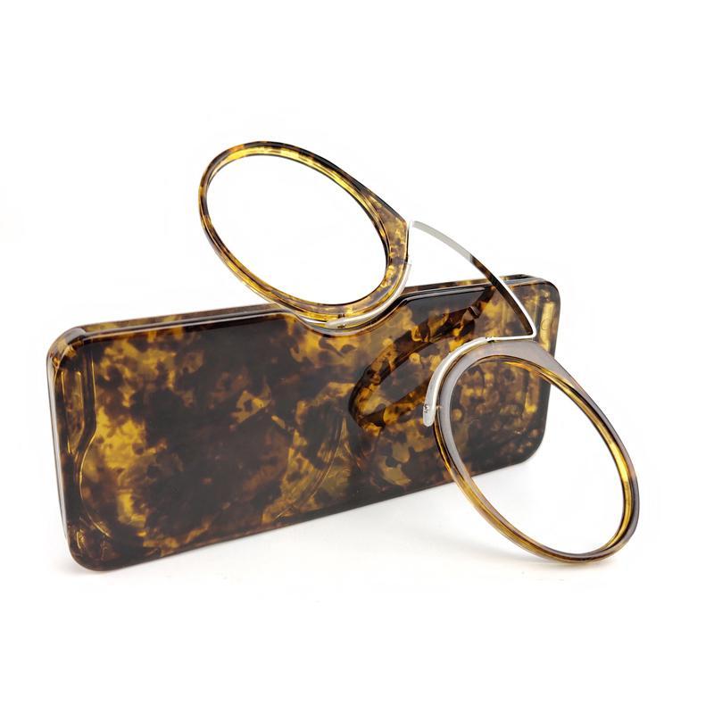 clipe nasal mini-leitura óculos homens mulheres leitores óculos de prescrição, sem costeletas Pince-nez