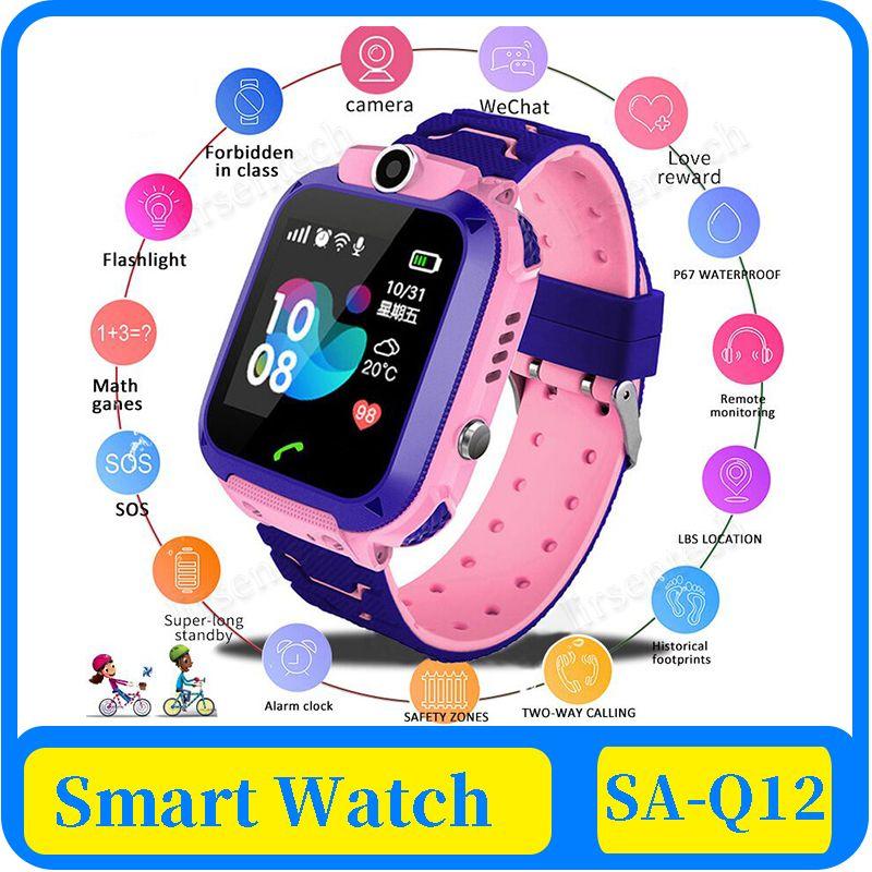 Inteligente reloj 100x Nueva Q12 Anti-Perdida niño a prueba de agua segura libras que colocan tarjeta SIM del reloj de llamadas perseguidor de la localización de la cámara SmartWatch niños
