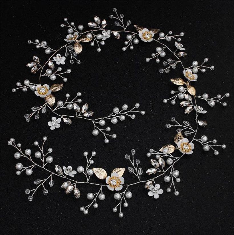 Wedding Bridal Headband Long Hair Vine Chain Jewelry Gold Flower Crown Tiara Crystal Rhinestone Headpiece Headdress Accessories Princess Pin