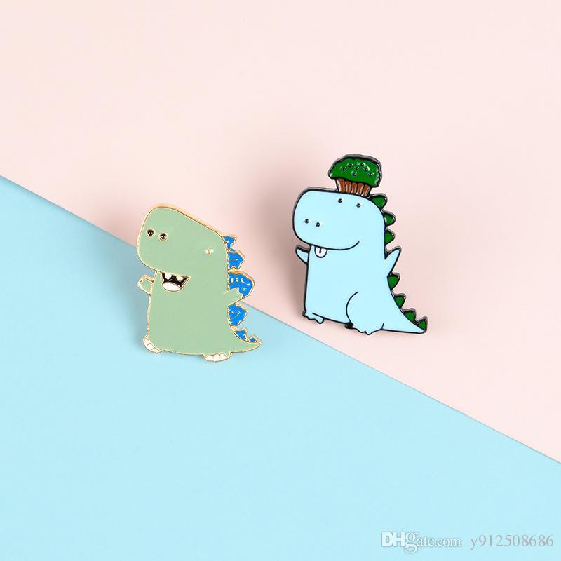 Dinosaurier-Emaille Pins Topf Karikatur-reizende Pflanzen Lächeln Broschen Abzeichen-Beutel-Kleidung-Revers-Stifte Schmuck Geschenke für Kinder