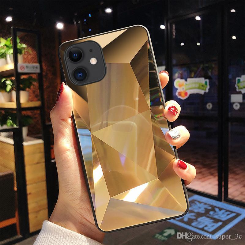 Caso Espelho 3D Diamante Jelly para iphone 11 pro Max Luxo Anti-queda Para iphone X XR XS 8 7 6 Plus Tampa frete grátis