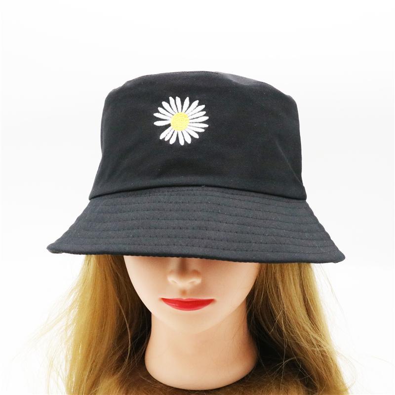 الصيف الخفيفة التطريز الاقحوان بنما نمط للجنسين دلو قبعات النساء الرجال الظل المتناثرة الشباب الأزياء الصياد قبعات F48