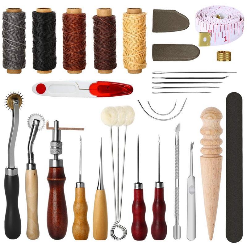 31 piezas de piel de coser herramientas de bricolaje Herramientas de Trabajo Cuero mano de costura Set de herramientas con Groover Punzón hilo encerado Kit dedal