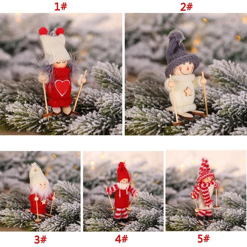 Decoração enfeites de natal Pendant Mini boneca de Natal Estatueta de esqui de madeira brinquedo de Santa Snowman boneca Xmas Hotel Decoração BC VT1160