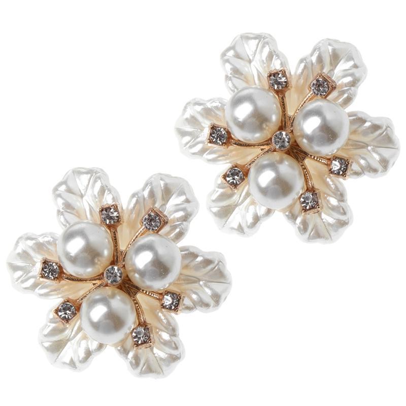 2pcs zapato decoración floral de flores de perlas Adornos de ropa Hadas Zapatos Suministros 2018 Nueva caliente