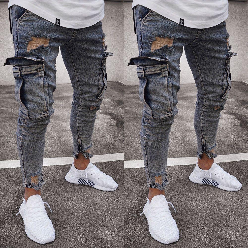 Мода Омывается джинсы мужские рваные джинсы Узкие разрушаемый Изношенные Slim Fit Denim Карманный Карандаш Pant Размер S-2XL