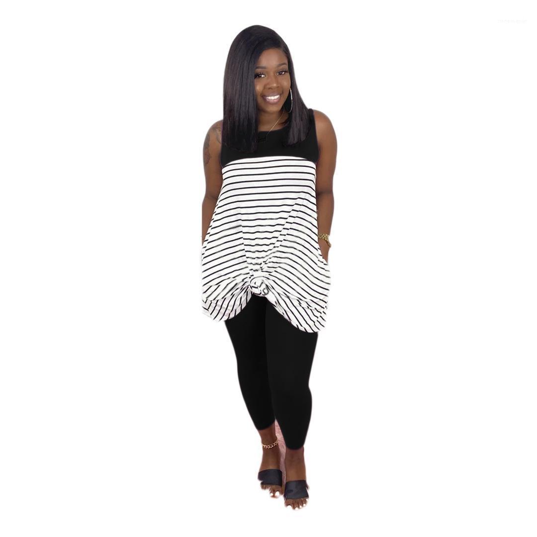 Two Piece Womens Define Magro calças compridas verão soltas sem mangas Top 2 Piece Mulheres Skirt Set