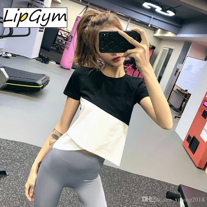 Loose Yoga Tops Women Sports Shirts Gym Fitness Cover up Patchwork Shirt Gym Jersey Sports Wear T-shirt Workout Tops For Female