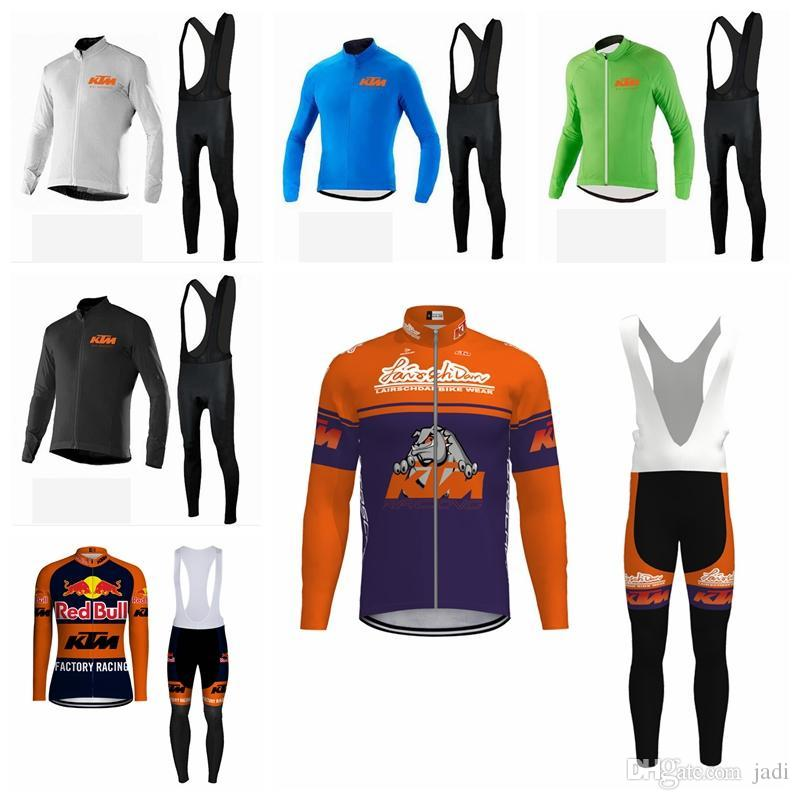2019 KTM team Cycling long Sleeves jersey (bib) pants sets spring autumn men quick dry Breathable bicycle jersey sets K012940