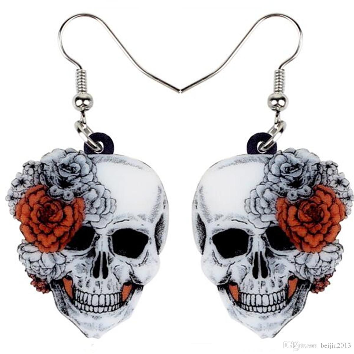 Acryl Halloween Rose Blumen-Schädel-Ohrring-Tropfen baumeln Big lange Art und Weise Punkschmucksachen für Frauen-Mädchen-Damen Accessoires