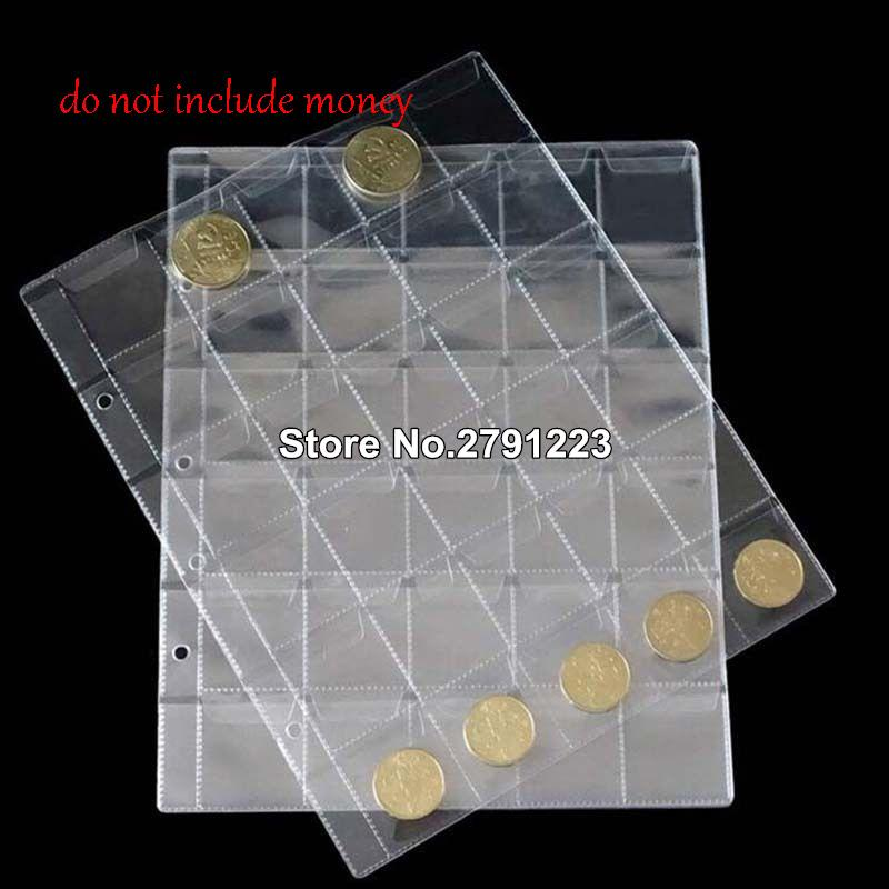 30 Piskets Hold Sheets For Classic Coin Storage Collection for coin34mm-leather not included
