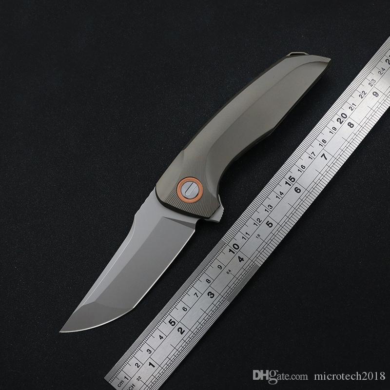 La alta calidad de soporte plegable táctico bola cuchillo de titanio M390 lámina maneta mango de aleación de caza que acampa cuchillo de supervivencia al aire libre EDC herramienta TC4