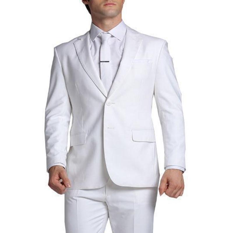 Neue Ankunfts-Gewohnheit Bräutigam Smoking White Wedding Anzüge für Männer fallendem Revers Herren Anzüge Slim Fit Männer Anzüge K2