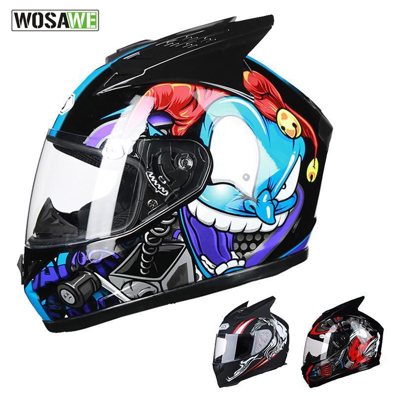 Wosawe 2020 Neue Motorrad-Integralhelme Breath Stoß- Visier Motocross Helm Shell Removable Reflective Scooter
