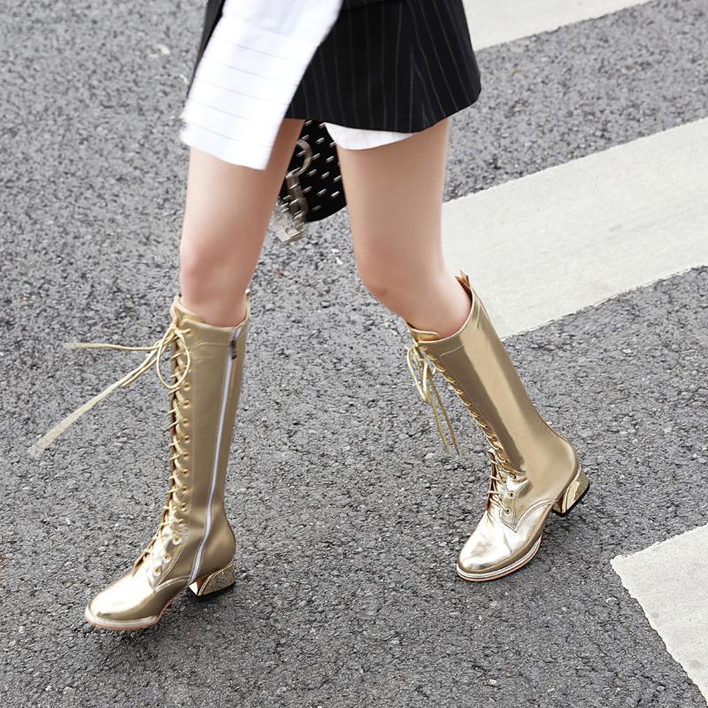 Las mujeres rodilla botas altas, además de la cruz del tamaño mujeres de la correa zapatos Europa y América celebridad en línea Metalli botas de invierno cColor