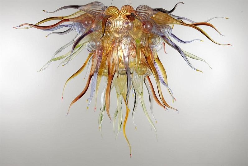 Индивидуальные Рука выдувное стекло Довольно Люстра Light Подвесной LED Modern Art Deco Glass Подвеска Лампы Чихули Стиль стекла Люстра