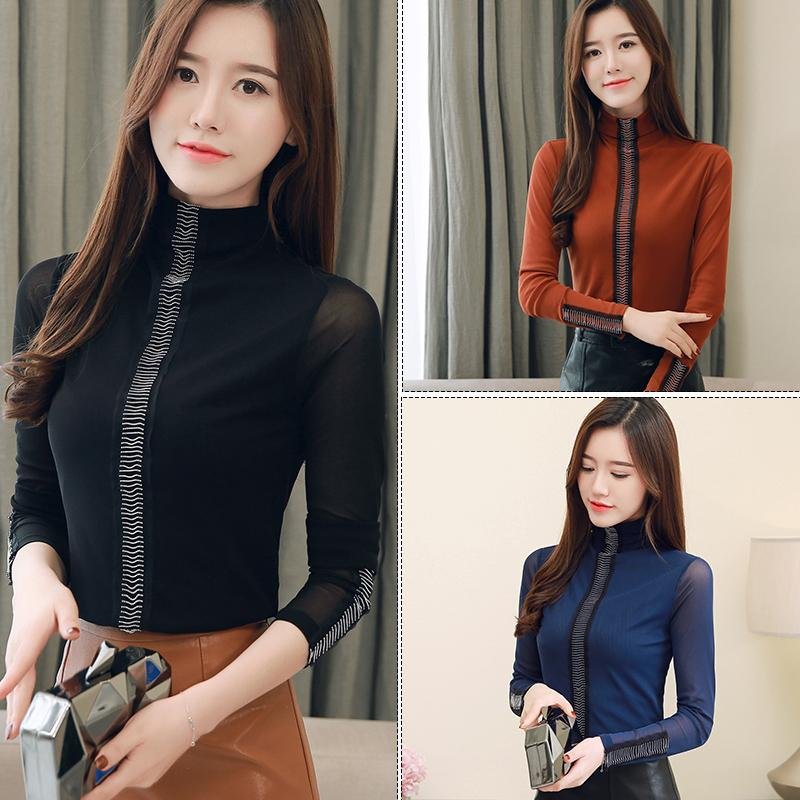 2019 autunno inverno nuovi top sciolti bottoming donna elegante semplice nero a maniche lunghe maglione prospettiva collo alto donna