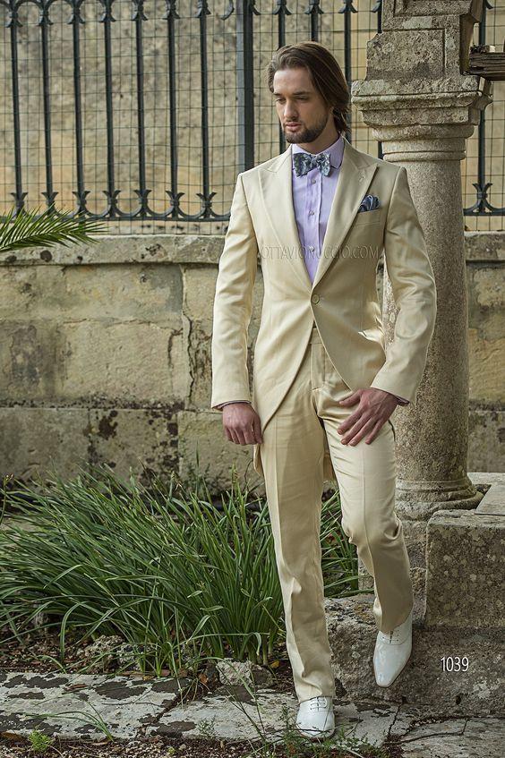 Утро / Фрак Стиль Groom Tuxedos Пик нагрудные Groomsmen Бежевый Мужские костюмы Свадебные / выпускной вечер / ужин Best Man (куртка + штаны + Tie) W222
