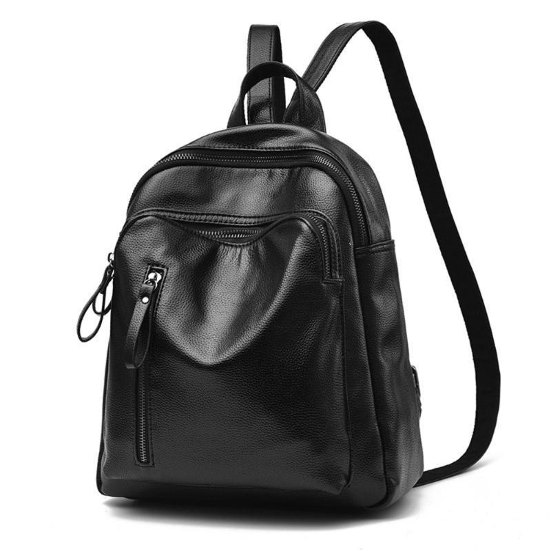 2020 neue Art und Weise Frauen-Rucksack All-Match aus weichem Leder College-Schulranzen Damen-Rucksack Fashion großer Kapazitäts-Spielraum-Beutel